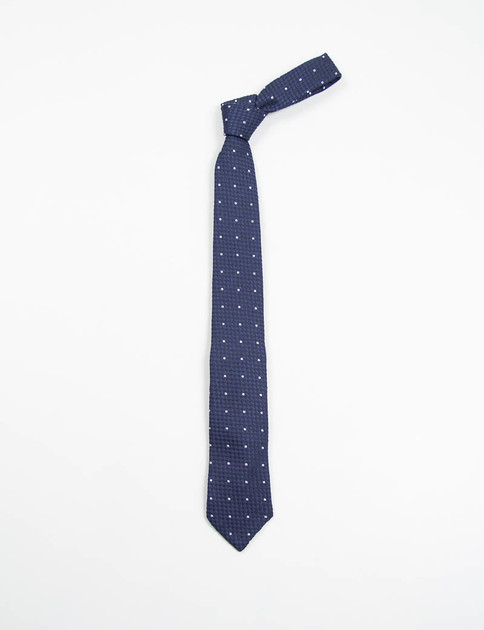 Navy Polka Dot Wool Neck Tie