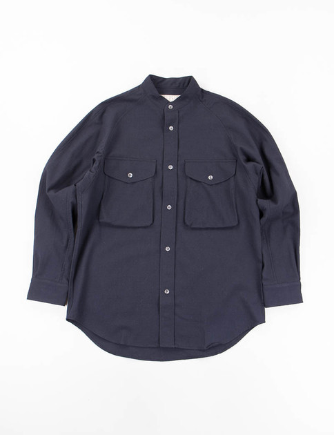 Navy Tropical Tumbler Stand Collar Shirt
