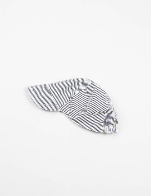 Navy Seersucker Stripe Bike Cap