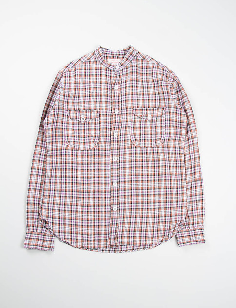 Brown/White Check Banded Collar Mill Shirt