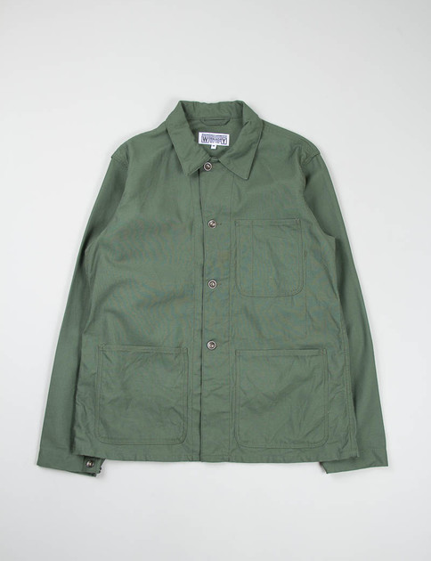 Olive Reversed Sateen Utility Jacket