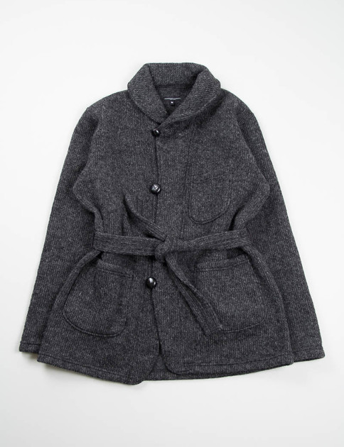 Charcoal Sweater Knit Shawl Collar Knit Jacket