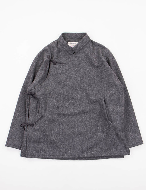 Charcoal Herringbone Wool Monks Shirt