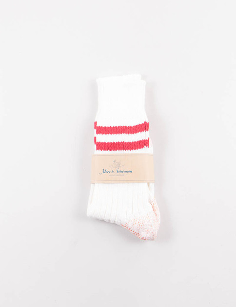 White/Red B75 Organic Cotton Striped Socks