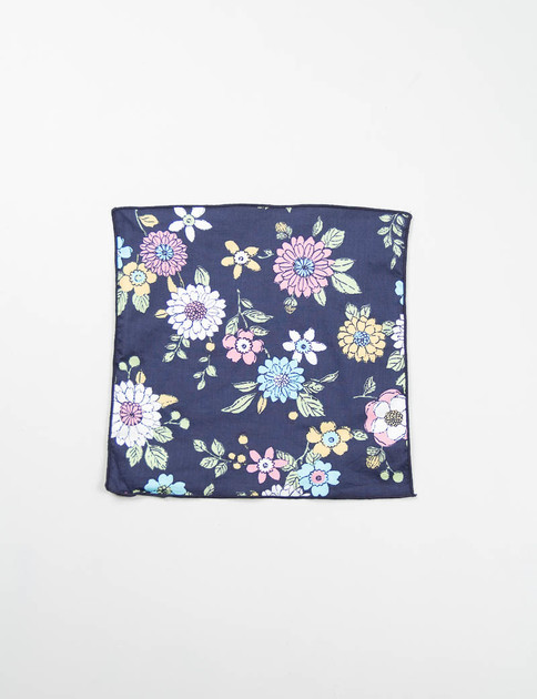 Navy Floral Print Lawn Pocket Square