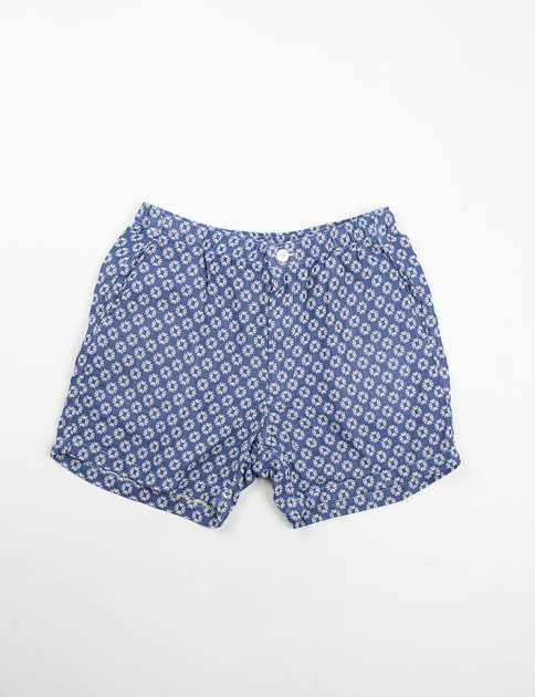 Blue Geo Jacquard Long Beach Short