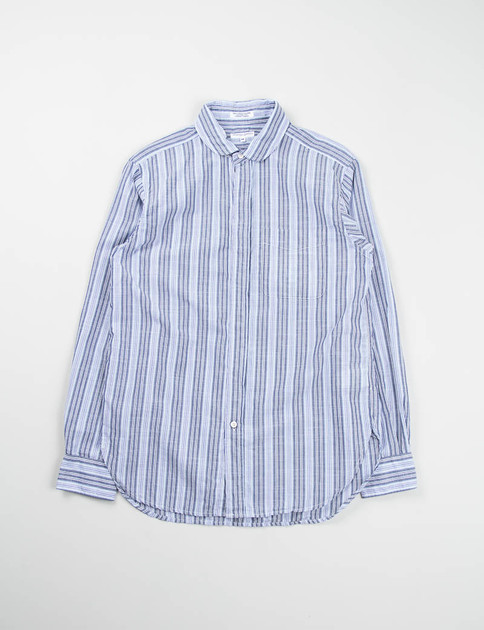 Light Blue Wide Multi Stripe Rounded Collar Shirt