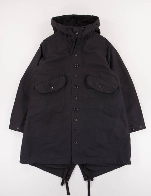 Black Cotton Double Cloth Highland Parka