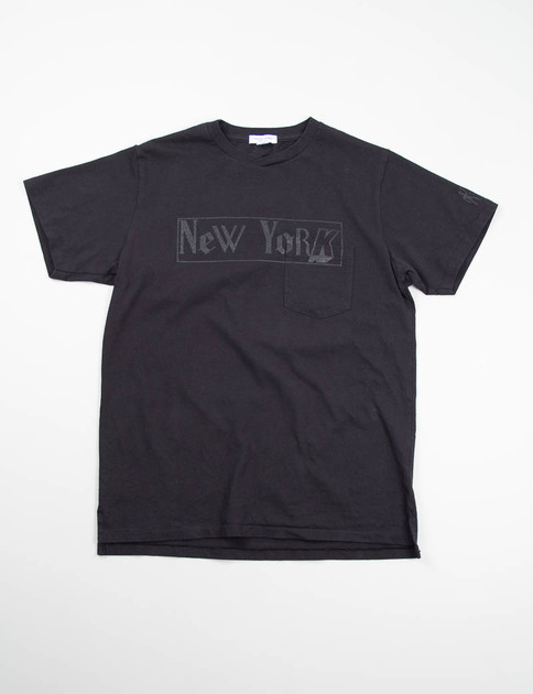 Black New York Printed Cross Crew Tee