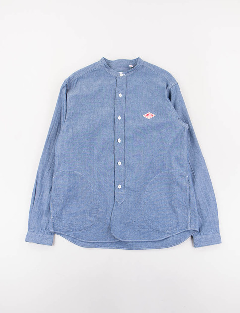Indigo Chambray Banded Collar Shirt