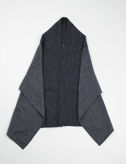 Dark Grey Pattern Block HB Button Shawl
