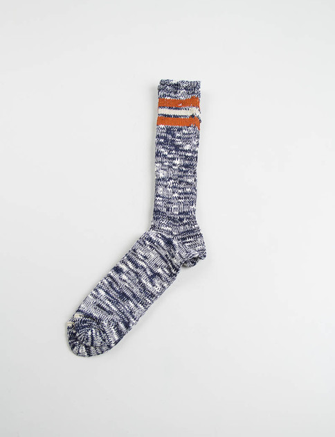 Navy/Orange 3 Line Slub Crew Socks