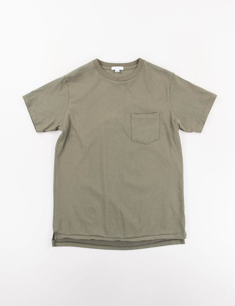 Olive Crossover Neck Pocket Tee