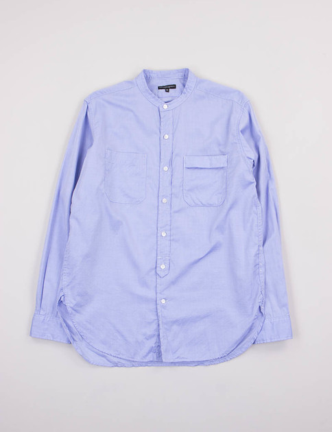 Blue Super Fine Twill Banded Collar Shirt