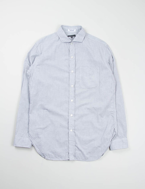 White Small Graph Check Spread Collar Shirt