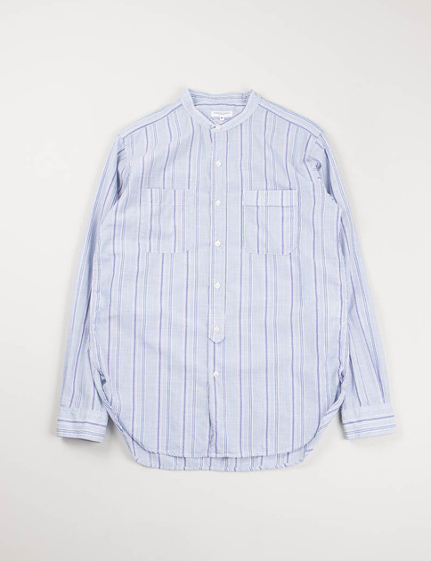 Light Blue Small Multi Stripe Banded Collar Shirt