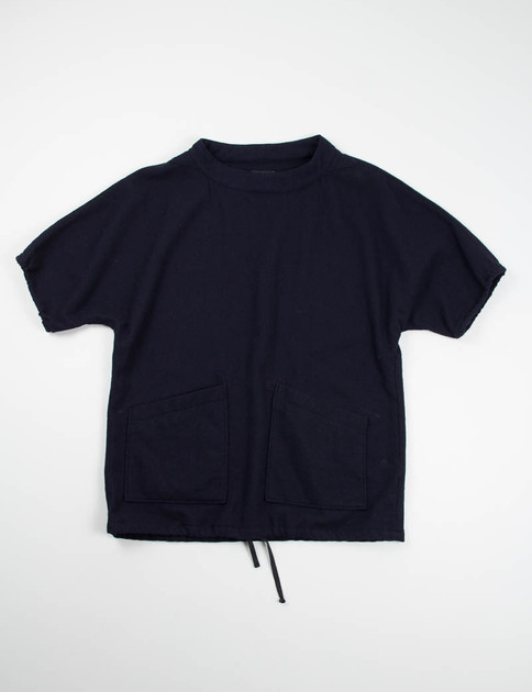 Dark Navy 13oz Wool Flannel S/S Smock