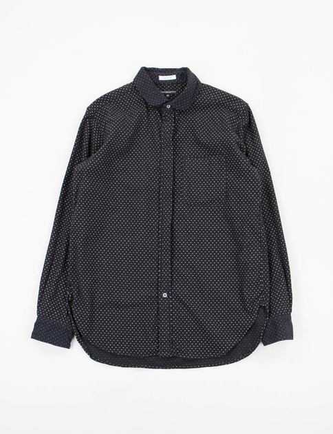 Black Polka Dot Flannel Rounded Collar Shirt
