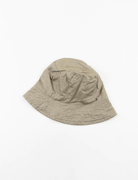 Olive Coated Linen Bucket Hat