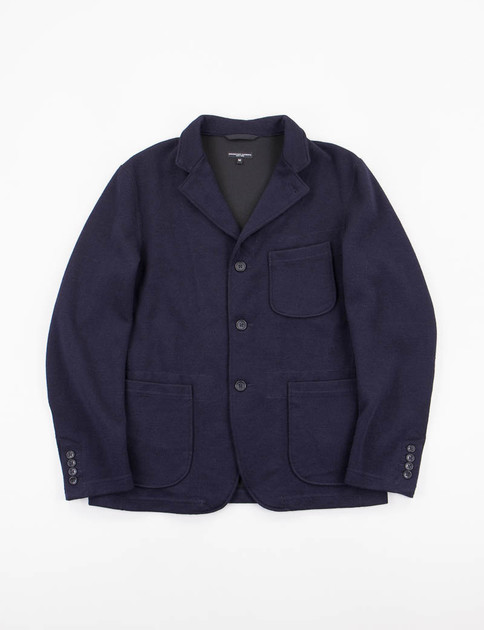Dark Navy Wool Jersey Knit Blazer