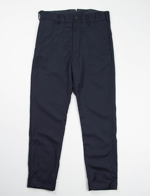 Dark Navy Worsted Wool Flannel Cinch Pant