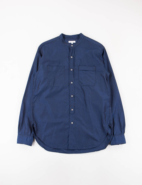 Navy Cotton Iridescent Banded Collar Shirt