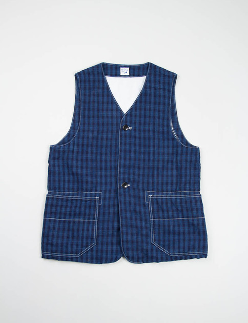 Navy/Blue Check Lined Vest