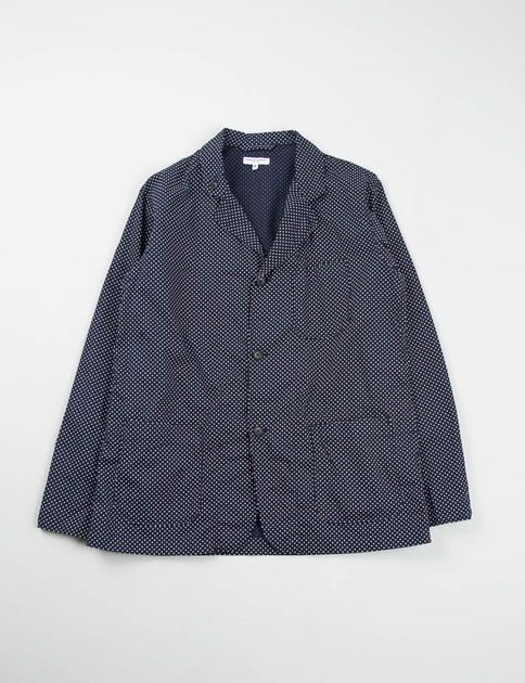 Navy Printed Polka Dot Loiter Jacket