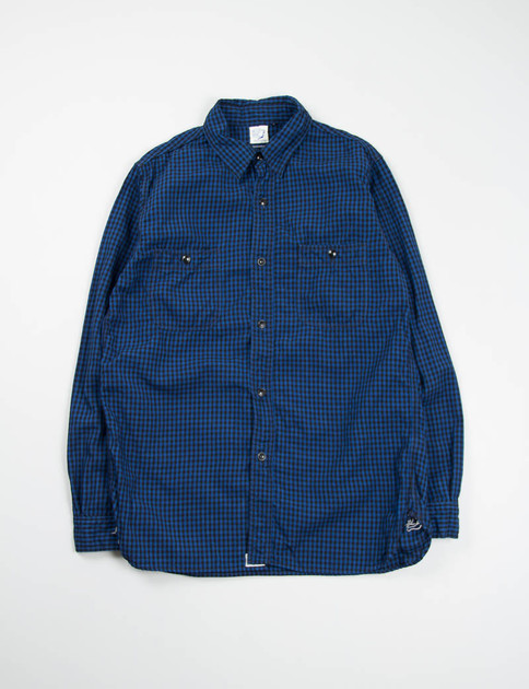 Blue/Black Gingham Check Work Shirt