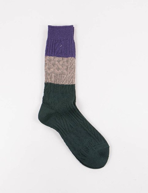 Dark Green Crazy Cable Socks