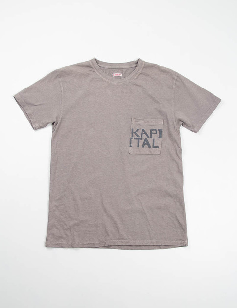Charcoal Grey Kapital Jersey Crew Pocket T–Shirt