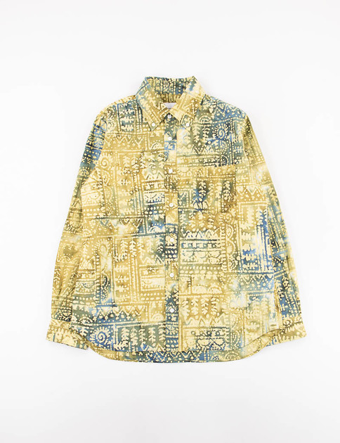Yellow Indian Primitive Print BD Shirt