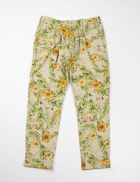 Khaki C/L Floral Print Willy Post Pant