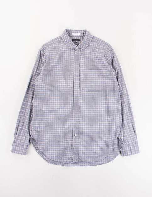 Grey/White/Blue Plaid Flannel Rounded Collar Shirt