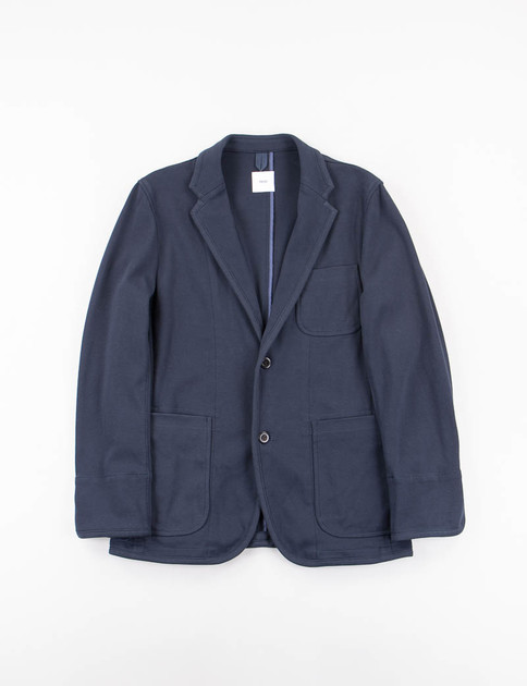 Navy High Count Cotton Jersey 2 Button Piping Jacket