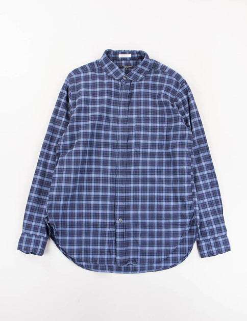 Navy/Light Blue Plaid Flannel Rounded Collar Shirt