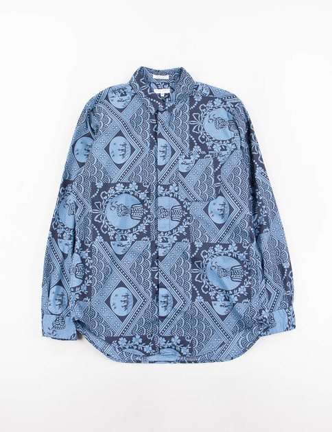 Blue/Navy Ethnic Print Short Collar Shirt