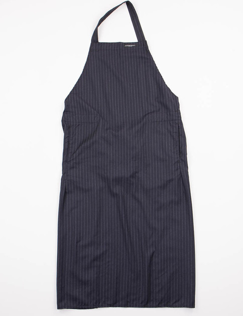 Navy Stripe Worsted Wool Long Apron