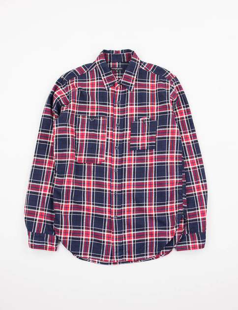 Navy/Red Big Plaid Flannel Work Shirt