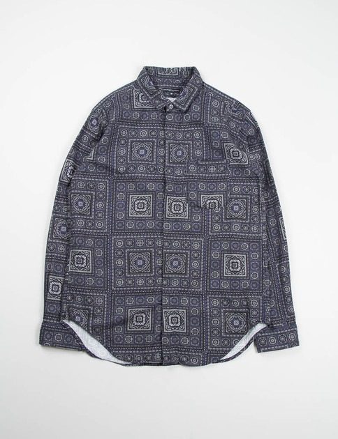 Dark Navy Crest Print Short Collar Shirt