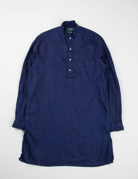 Indigo Overdyed Linen Long Banded Collar Shirt