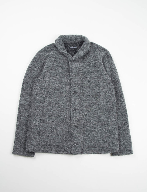 Grey Boucle Shawl Collar Knit C/D