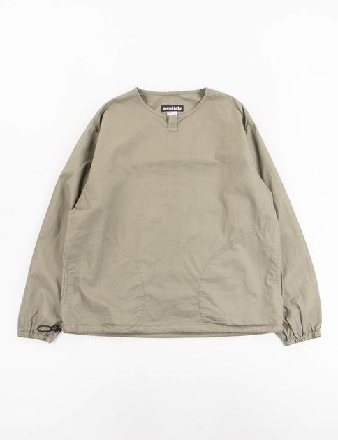 Olive Vancloth Long Sleeve Crew Henley Neck Pullover