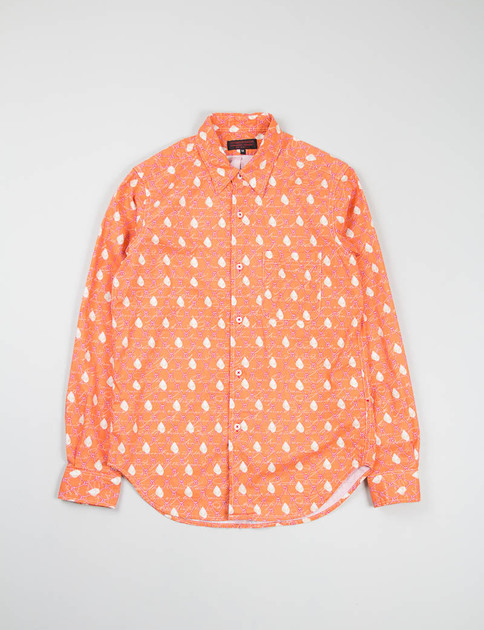 Natural/Orange Nautical Print Red Button Hole Shirt