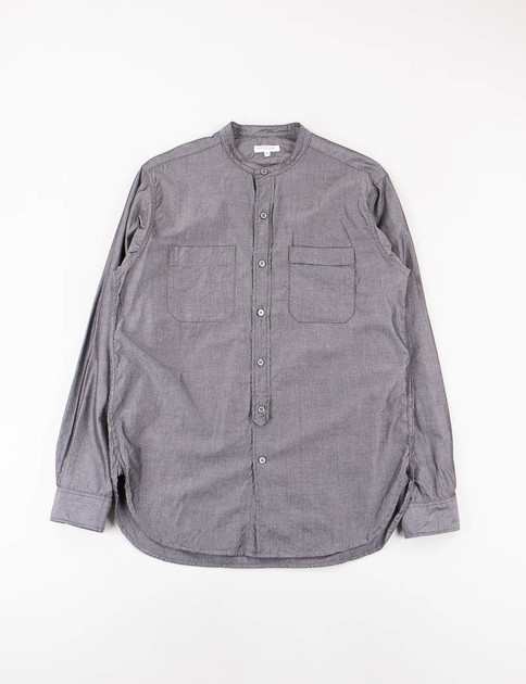 Light Grey Cotton Iridescent Banded Collar Shirt