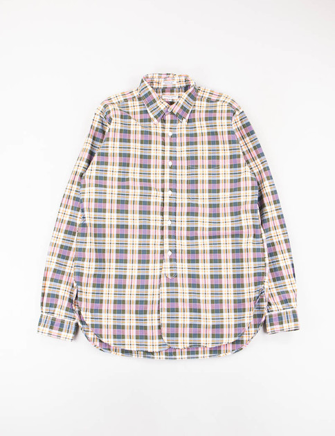 Pink/Olive Cotton Plaid 19th Century BD Shirt