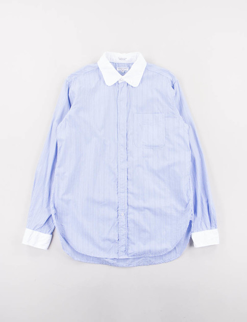 Blue Multi Stripe Broadcloth Rounded Collar Shirt