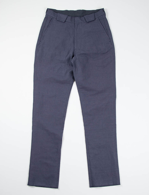 Navy Oxford Cotton/Linen Formal Pant