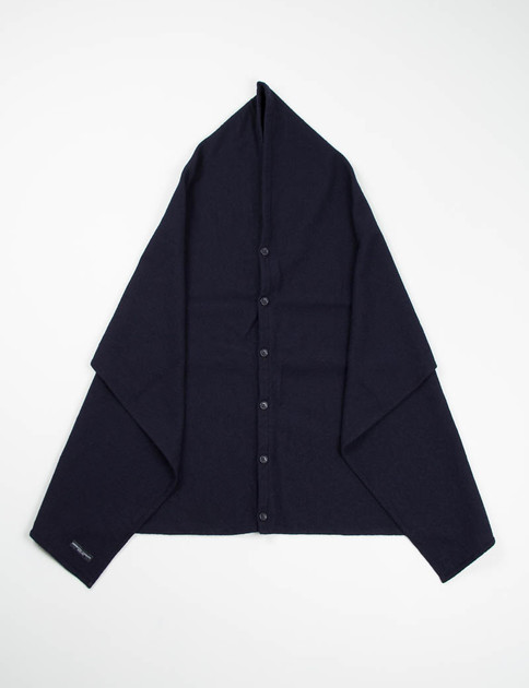 Dark Navy 13oz Wool Flannel Button Shawl