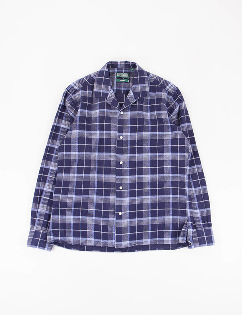 Navy Japanese Flannel Check Camp Shirt